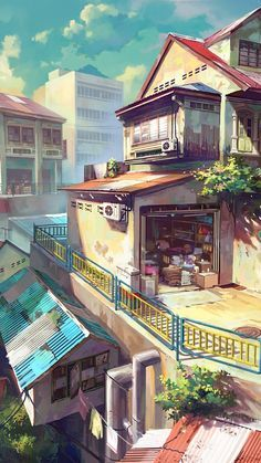Japanese anime painting. Paint, anime, japan city, colors, green, yellow, iPhone, Android, wallpaper, background sazum 2017.