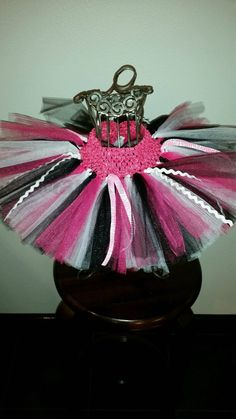 Pink Zebra Ribbon Tutu with Fuchsia Black and by mamamadebows
