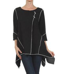 Look what I found on #zulily! Black Thread Sidetail Top - Women #zulilyfinds