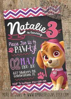 A Summery, Chalkboard Skye Invitation for your Paw Patrol Party! #pawpatrol #party