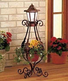 Solar Powered Lantern Flower Pot Wrought Iron Outdoor Yard Decor Garden Gift NEW