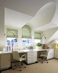 Houzz.com  Like the use of 2 1 for both desks w/storage between & beside  Presidio Heights Residence - eclectic - home office - san francisco - Charlie Barnett Associates