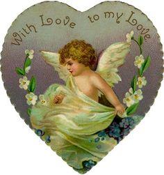 Vintage ephemera, valentine heart
