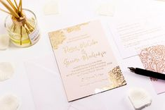 This Foil Printed wedding invitation features an intricate floral design and a modern calligraphy font. Embossed metallic foil on cotton luxe card. Embossed Wedding Invitations, Gold Wedding Stationery, Luxury Wedding Invitations, Modern Calligraphy, Floral Design, Wedding Day, Place Card Holders, Prints, Cards