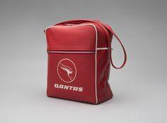 Qantas Airways flight bag  1970s. vinyl, metal