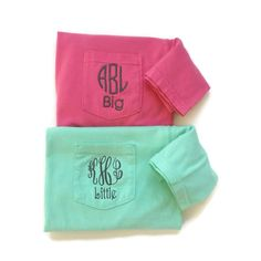 Short Sleeve Sorority Monogram Family Name Reveal Pocket Tees by The Initialed Life