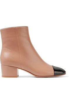 Gianvito Rossi - Patent And Matte-leather Ankle Boots - Sand - IT38.5