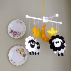 Baby Nursery Mobile-Infant Crib Mobile - Counting Sheep - Black And White. $88.00, via Etsy.