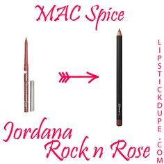 MAC Spice dupe Jordana Easyliner in Rock N Rose 8 Loveable Lip Liner Dupes #dupe #liplinerdupe #macdupe www.lipstickdupe.com