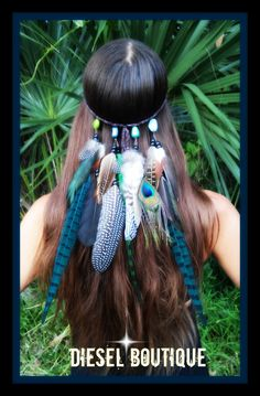 Jade Princess - Feather, headband, native, american, style,  indian, tribal , green, bohemian, gypsy, boho, exotic,  costume, peacock by dieselboutique on Etsy https://www.etsy.com/listing/200684443/jade-princess-feather-headband-native