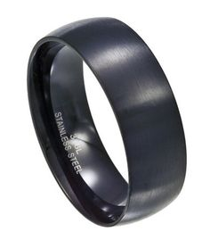 Men's Black Stainless Steel 7.7mm Comfort Fit Wedding Ring with Matte Finish and Slightly Domed Profile Mens-Wedding-Rings. $24.95. Large Size Rings Available. 316L Surgical Steel. Lifetime Guarantee. Ring Width - 7.7MM