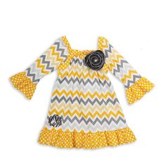 Yellow Gray Chevron Dot Ruffle Dress