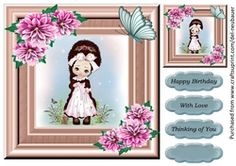 That Girl Bella on Craftsuprint - View Now! Christmas Express, Cute Young Girl, Cup Design, Quick Cards, Girl Birthday, Gift Tags, Daisy, Card Making, Crafty