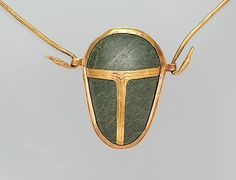 """buonfresco:  Heart Scarab of Manhata, c. 1479-1425B.C., Egyptian  """"The Egyptians regarded the heart as the seat of the spirit, and it was not removed from the body during mummification. Among the spells popularly known as the Book of the Dead, one (30B) calls upon the heart not to bear witness against the deceased during judgment in the afterlife. This spell was usually inscribed on a large scarab made of green stone that was placed on the mummy's chest. Instead of a scarab, Queen Manhata…"""