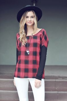 Women's Long Sleeved Burgundy Plaid Top Now in Stock