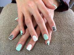 Light mint, white hologram glitter and black stripes