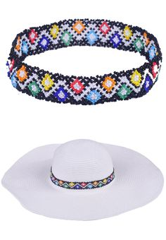 www.sayila.com - Glass rocailles necklace/accessory for hats #SafariLook