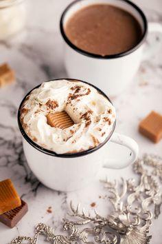 Salted Caramel Hot Chocolate Recipe Spiced Hot Chocolate Recipe, Salted Caramel Hot Chocolate, Chocolate Flavors, Vegan Desserts, Dessert Recipes, Chocolate Powder, Best Banana Bread, Ice Cream Flavors, Cake Flavors