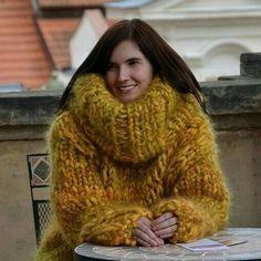 Yellow today. #creapulkasweaters #wool #mohair #turtleneck #sweater…