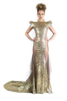 Gold Evening Gown with Silk Mesh Detail and Accentuated Shoulder by Michael Costello