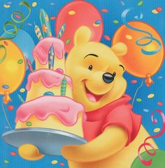 Disney Happy Birthday Winnie The Pooh Pictures, Cute Winnie The Pooh, Winnie The Pooh Birthday, Winnie The Pooh Friends, Happy Birthday Disney, Happy Birthday Minions, Cute Happy Birthday, Happy Birthday Images, Pooh Bear