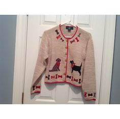 Web Thrift Store: ORVIS Ladies Novelty Sweater size small -  $20  adorable dog appliques - look like labs  all proceeds benefit Col. Potter Cairn Rescue
