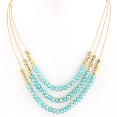 Layered Beaded Strands Necklace Light Blue #zokydoky zokydoky.com #layers #statement #travel #vacationjewelry #accessories #vacation #destination
