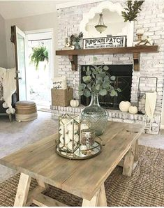 Rustic House, Rustic Home Decor, Decor, Rustic Farmhouse Living Room, Cottage Living Rooms, Rustic Farmhouse Fireplace, Living Room Decor Apartment, Rustic Living Room, Farmhouse Decor Living Room