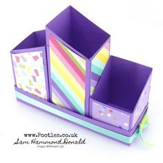 Stampin' Up! Demonstrator Pootles - SpringWatch 2019 Multi-Way Holder Pots Tutorial Cardboard Box Crafts, Cardboard Paper, Paper Crafts, Homemade Gift Boxes, Theme Baskets, Stampin Up, Corporate Gift Baskets, Decorated Gift Bags, Pot A Crayon