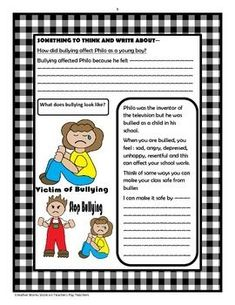 The Boy Who Invented TV - Questions, Activities + Bundle by Creative Works Literature Circles, Children's Literature, Summary Writing, Easel Activities, Higher Order Thinking, Book Study, English Writing, Anti Bullying, Reading Strategies