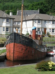 """Crinan Canal at Ardrishaig The famous Clyde Puffer """"Vital Spark"""" lies rusting. Would make a lovely home."""