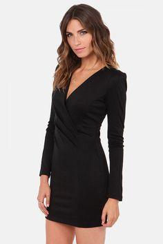 Black V Neck Long Sleeve  Dress