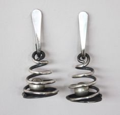 Art Smith American, c 1950s Earrings Sterling silver Signed Art Smith 4high x 3/4 dia