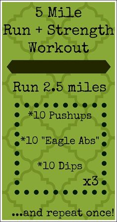 "5 Mile Run + Strength Workout   (click through to the blog to get a photo-by-photo description of the ""Eagle Ab""!)"