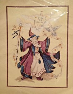 Dimensions The Wonderful Wizard Vintage 1996 Stamped Counted Cross Stitch Kit #Dimensions #Sampler