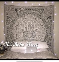 """Exclusive Hamsa Hand Branded Tapestry For Goodluck By \""""The Boho Street\"""", Indian Mandala Wall Art, Hippie Wall Hanging, Bohemian Bedspread ** Find out more about the great product at the image link."""