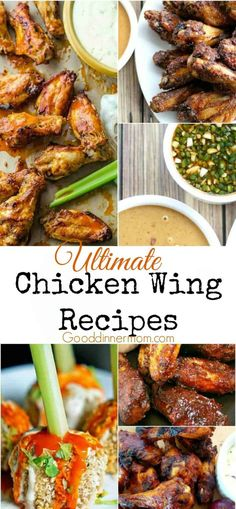 Here are some delicious option for the Ultimate Chicken Wing Recipes. Everything from Buffalo Wings, to Thai and Cajun. Even a vegetarian option! Best Chicken Wing Recipe, Chicken Wing Recipes, Real Food Recipes, Cooking Recipes, Easy Recipes, Amazing Recipes, Crockpot Recipes, Creamy Chicken Pasta, Slow Cooker Bbq