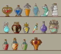 Elixir Art - The Legend of Zelda: Breath of the Wild Art Gallery Flower Art Drawing, Magic Bottles, Game Concept Art, Breath Of The Wild, Legend Of Zelda, Game Art, Fantasy Art, Cool Art, Art Drawings