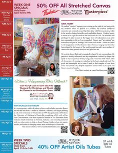 """Page Two of the April """"Artists of Alabama"""" Newsletter with Featured Artists: Gina Hurry and Ann Moeller Steverson. Promotions on stretched canvas and Winsor & Newton Artist Oils."""