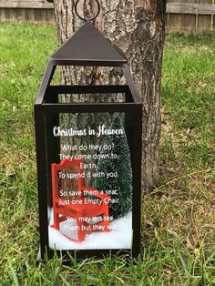 Such a special meaning. Excited to share this item from my shop: Christmas in Heaven Lantern. Christmas Chair, Christmas Lanterns, Christmas Decorations To Make, Diy Christmas Gifts, Christmas Projects, Holiday Crafts, Christmas Holidays, Christmas Ornaments, Christmas Trees