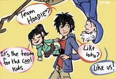 Wreck-It Ralph, Big Hero 6 and Rise of the Guardians crossover. Team Hoodie, Vanellope, Hiro, Jack