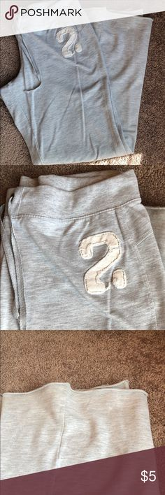Derek heart gray sweat pants Cute and lightweight Derek heart gray sweat pants. Size large. Has drawstring around waist to pull close. Is missing one ring around string as shown in pic. Bell bottom - still has a lot of life left. Derek Heart Pants Track Pants & Joggers
