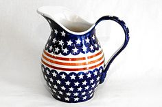 Blue Rose Polish Pottery: Stars & Stripes Pitcher