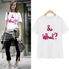 $32.99 USD Sequin Letters Print Short Sleeve White T Shirt