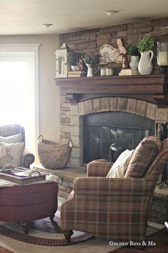 spring mantel with stone fireplace-www.goldenboysandme.com