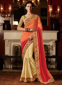 Be an angel and create and establish a smashing affect on everybody by wearing this cream and orange georgette designer saree. The ethnic embroidered, patch border, resham and zari work to your clothi...