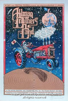 "Allman Brothers Band (click image for more detail) Artist: EMEK Venue: State Theatre Location: Detroit, MI Concert Date: 4/27-29/1994 Size: 15"" x 22"" Condition: Mint Notes: signed and doodled (beautif"