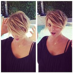 Love her hair! Kaley Cuoco Gets Pixie Haircut: Picture - Us Weekly Short Hair With Layers, Short Hair Cuts For Women, Short Hairstyles For Women, Short Hair Styles, Short Cuts, Pixie Hairstyles, Cool Hairstyles, Pixie Haircuts, Woman Hairstyles