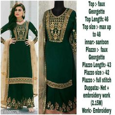 Checkout this latest Suits Product Name: *Missethnik beautiful embroidory work semi stitched green sharara suit* Fabric: Georgette Pattern: Embroidered Multipack: 1 Sizes: Country of Origin: India Easy Returns Available In Case Of Any Issue   Catalog Rating: ★4.2 (1086)  Catalog Name: Embroidered Georgette Suits & Dress Materials CatalogID_1456793 C74-SC1002 Code: 259-8590776-0462