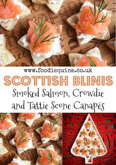 Uk Scottish Produce Combines To Make A Canape With A Twist. Smoked Salmon, Crowdie And Tattie Scone Stars Are An Effortless Yet Sophisticated Scottish Nibble, Perfect For Christmas, Hogmanay, Burns Night Or St Andrew's Day. Christmas Nibbles, Christmas Catering, Christmas Appetizers, Best Appetizers, Appetizer Recipes, Wedding Appetizers, Salmon Recipes, Fish Recipes, Burns Supper